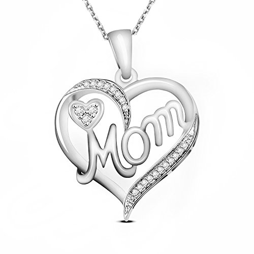 18k White Gold Diamond Pendant (0.07 Carat Natural Real Diamond Heart Mom Pendant 18K White Gold (42 cm Silver Chain Free))