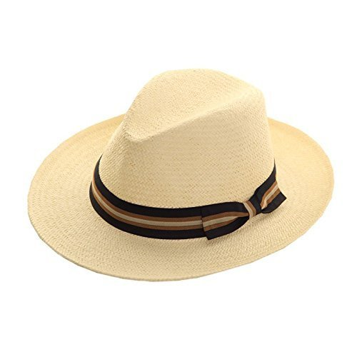 1950s Men's Clothing STRAW CRUSHABLE FOLDABLE SUMMER FEDORA PANAMA TRILBY HAT with wide bow trim band £11.75 AT vintagedancer.com