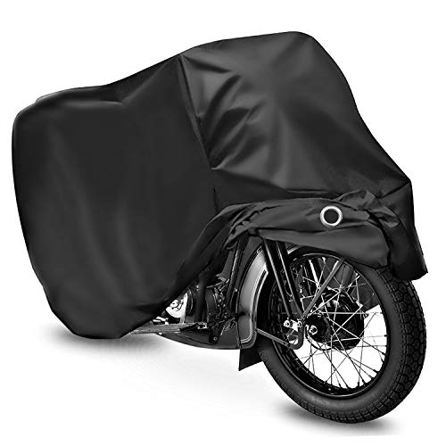 WDLHQC Motorcycle Cover,420D Oxford Fabric All Season Waterproof Outdoor Protection,Precision Fit for 105 inch Motors,Choppers and Cruisers - Protect Against Dust,Debris,Rain and ()