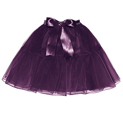 Dark Tulle Femmes Petticoat Purple Haute Bowknot Jupe Au Tailles Plusieurs LSCY Au Dessus Couches Genou Tutu Taille Zx7ggqwzd