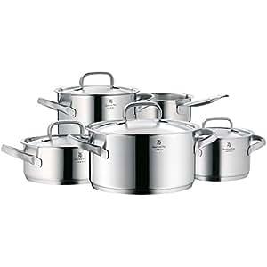 WMF Gourmet Plus - Batería de cocina, 5 piezas, Cromargan acero inoxidable, 1 Cacerola Ø 20 cm (tamaño 2,5l), 1 Cacerola Ø 16 (tamaño 1,9l), 1 Cacerola Ø 20 (tamaño 3,7l), 1  Cacerola Ø24 cm (tamaño 5,7l) -todos con tapa; 1 x Guisando olla sin tapa.