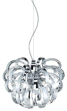 Trio 308900606 Serie 3089 - Colgante con 6 luces, bombillas excluidas, E14, 40 W, 230 V, A++, E, IP20, alto 36 cm, diámetro 44 cm, metal, cromo