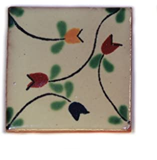 Mexican Tile Brushed Yellow Color Talavera Mexican Hand Painted Tiles Box of 100 Pieces S015 Color y Tradicion 100-4x4-S002