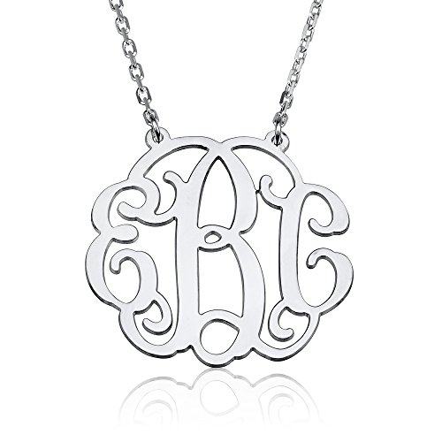 - Monogram Necklace Sterling Silver Personalized Name Necklace (18 Inches)