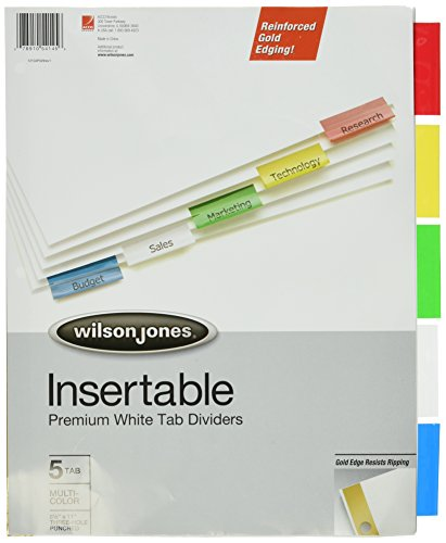 Wilson Jones Insertable Dividers - Gold Line, 5-Tab Set, Multicolor Tabs on White Paper ()