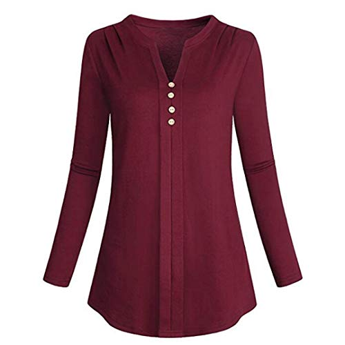 ps, Duseedik Womens Fashion Plus Size Long Sleeve Botton V-Neck T-Shirt ()