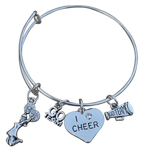 Cheer Bracelet- Girls Cheerleading Bracelet- Adjustable Chearleader Bangle Bracelet- Cheer Jewelry - Perfect Gift For Cheerleaders & Cheer Coaches