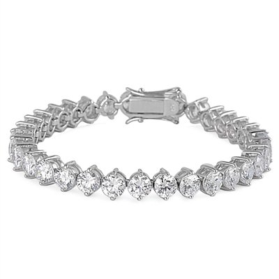 "Bracelet Tennis Femme - Argent Fin 925/1000 - Oxyde de Zirconium ""18.5 CM"""