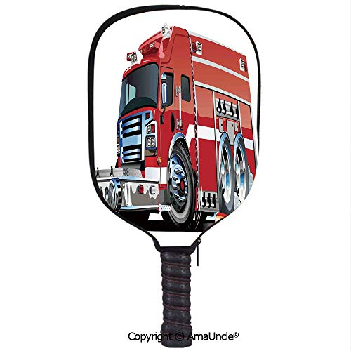 SCOXIXI 3D Pickleball Paddle Racket Cover Case,Big Fire Truck with Emergency Equipments Universal Safety Rescue Team Engine CartoonCustomized Racket Cover with Multi-Colored,Sports Accessories