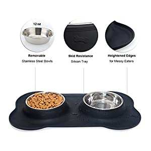 Lifepul(TM) Dog Bowls Stainless Steel Double Bowls for Dogs, Cats & Small Pets with Anti-Spill Non-Skid Bone Silicone Mat, Black 24 Oz