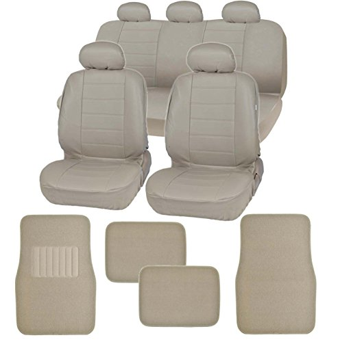 Taupe Leather Seat (Motor Trend Gift Pack - Premium Leatherette Car Seat Covers & Thick FatRug Floor Mats - 13 Piece Set - Taupe Beige Tan)