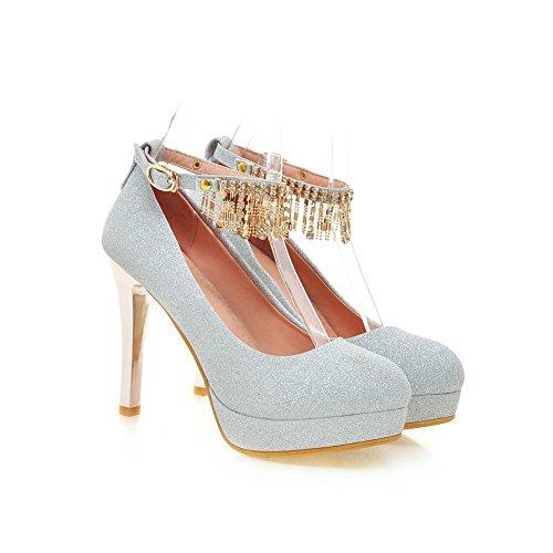 Balamasa Nappe Da Donna Con Paillettes In Metallo Catena Imitato In Pelle Pompe-scarpe Argento