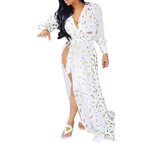 f0454d4785d 70%OFF Wearlove Women s Summer Deep V-neck Side Split Golden Feather Print  Long