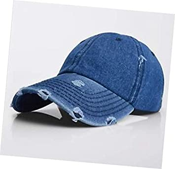 fe9501d0cbc23d Amazon.com: Dark Blue Vintage Distressed 100% Cotton Solid Polo Denim  Baseball Cap Hat Ball Dad Washed: Garden & Outdoor