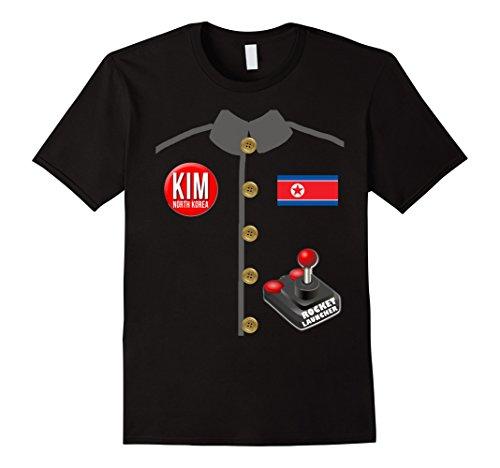 [Mens Kim Jong Un Halloween T-Shirt with Rocket Launcher Large Black] (Un Costume Korea)