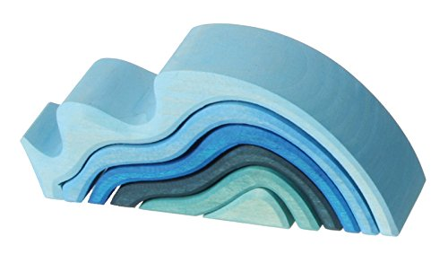 Grimm's Large WaterWaves Stacker - Nesting Wooden Wave Blocks,