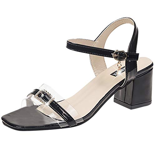 Matasleno Women's Dress Sandals Summer Thick with Rhinestone Crystal Open Toe Shoes Black