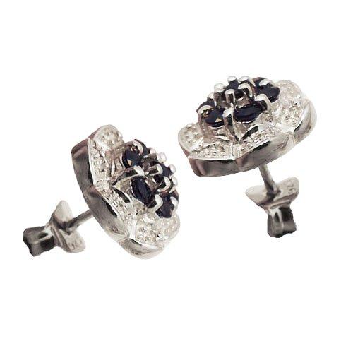 Austral Jewellery Ltd - Argent 925 Réel Saphir - Diamond Cadeau Set- Pendentif, Boucles D'Oreilles Et La Chaîne - Birthstone Septembre