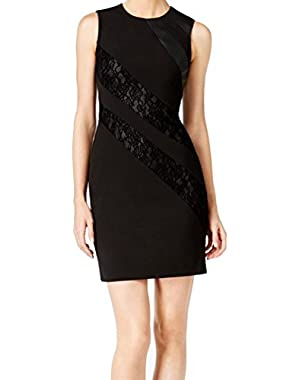 Calvin Klein Lace Illusion Women's Sheath Dress Black 14