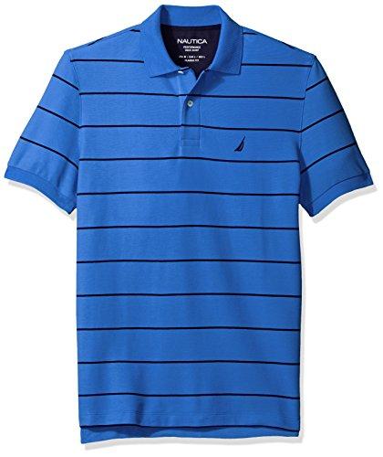 Nautica Men's Short Sleeve Stripe Deck Polo Shirt, French Blue, Small