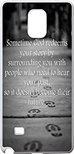 Note 4 Case Christian Quote, Samsung Galaxy Note 4 IV Bible Verses Sometime God Redeems Your Story By Surrounding You With People Who Need To Hear Your Past So It Doesn'T Become Their Future