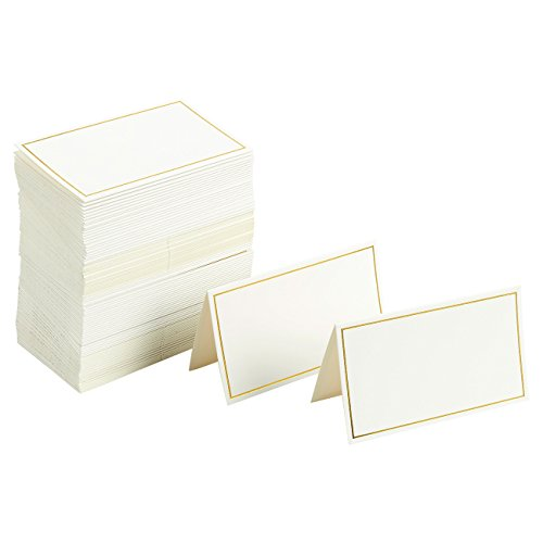 Pack of 100 Place Cards - Small Tent Cards with Gold Foil Border - Perfect for Weddings, Banquets, Events, 2 x 3.5 Inches ()