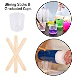 29PCS Cup Turner Accessories for Mixing Paint Stain Epoxy Resin 2 Silicone Mats, 10 Wooden Stirring Sticks, 6 30ml 2 100ml Plastic Graduated Cups, 6 Plastic Transfer Pipettes, 3 Silicone Brushes