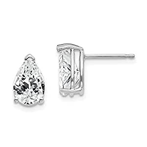 Real 14kt White Gold 9x6mm Pear Cubic Zirconia Earrings