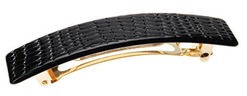 France Luxe Classic Rectangle Barrette - Embossed Croc Black