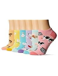 K. Bell Socks womens 6 Pack Novelty Crew Socks
