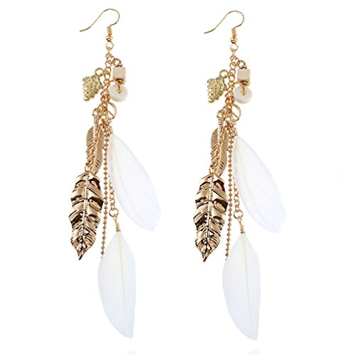 Haotfire Vintage Gold Leaves Dangle Drop Earrings For Women Girls Fashion Feather Jewelry Gifts For - Apparel Alloy Returns