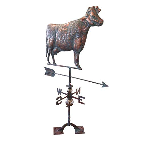 Kunkle Holdings LLC Large Handcrafted 3D - Dimensional Cow Weathervane Copper Patina Finish