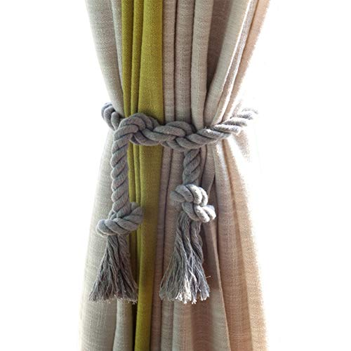 Window Tie Backs - DEZENE Rope Curtain Tiebacks,2 Pack Handmade Natural Cotton Drapery Tie Bakes,Decorative Holdbacks Holders for Window Sheer and Blackout Panels,Grey