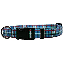 "Yellow Dog Design Tartan Blue Dog Collar with Tag-A-Long ID Tag System-Medium-3/4 and fits Neck 14 to 20""/4"""