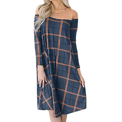 Padaleks Women Sweatshirt Dress, Ladies Plaid Patchwork Casual O-Neck Printed Long Sleeve Ethnic Element Dress