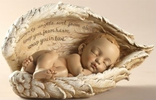Joseph Studio Sleeping Baby Wrapped in Angel Wings Figurine