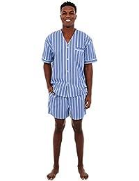Del Rossa Mens Cotton Pajamas, Short V-Neck Woven Pj Set