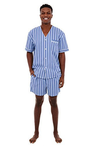 Alexander Del Rossa Mens Woven Cotton Pajama Set, V-Neck Button-Down Shorts Pjs, 3XL Dark Blue and White Striped (A0698P193X) (3 Top Pajama Piece Cotton)