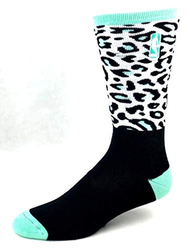 Nba Mint - For Bare Feet NBA Logoman Leopard Print Black/Mint Crew Socks - Size Large