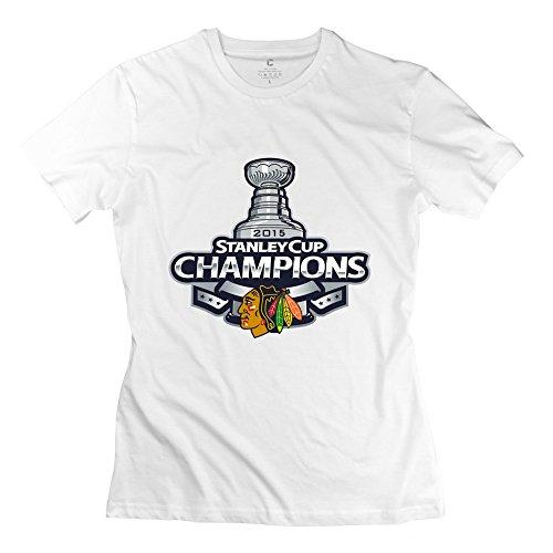 TGRJ Women's T-shirts - Vintage Chicago Blackhawks Stanley Cup White Size L
