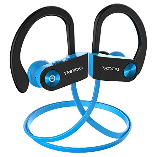 Bluetooth Headphones, TRINIDa IPX7 Waterproof Sport Wireless Headset for Running, Best in Ear Earbuds HiFi Stereo with Mic 10 Hours Playback Gym Workout Passive Noise Cancel Wireless Earphones(Blue)