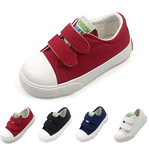 Tennis Girl Costume (Toddler Kids Boys Girls Canvas Sneaker Adjustable Strap Slip On Little Kid Lightweight Runner Loafer Tennis Shoes (9 M US Toddler,)