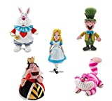 Disney Store Alice in Wonderland Plush Doll Set ~ Alice, White Rabbit, Queen of Hearts, Mad Hatter & Cheshire Cate