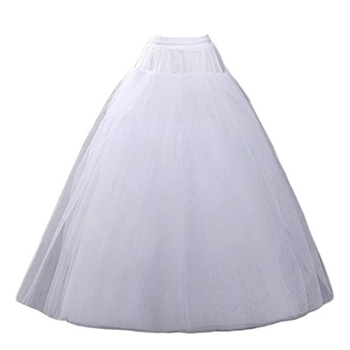 CEZOM A-line Hoopless Petticoat Crinoline Underskirt Slips Wedding Accessories MPT022 White (Slip For Wedding Dress)