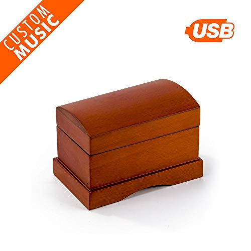 (Matte Wood Treasure Chest Music Box, Custom USB Musical Box with Light Crème Finish Interior - Solid Wood Jewelry Box with 1 Ring Roll, 15 MP3 Songs Rechargeable USB Sound Module with 100 MB Space)
