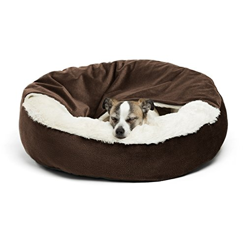 Best Friends by Sheri Cozy Cuddler, Dark Chocolate – Luxury Dog and Cat Bed with Blanket for Warmth and Security - Offers Head, Neck and Joint Support - Machine Washable