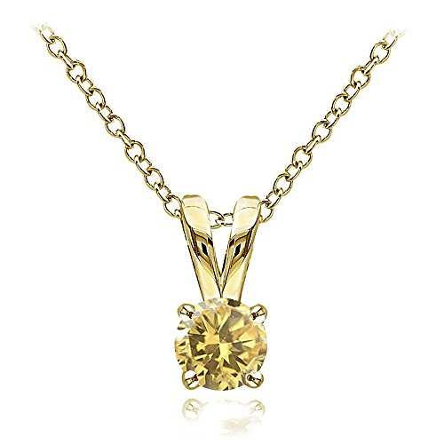 Yellow Gold Flashed Sterling Silver Citrine 5mm Round Solitaire Necklace