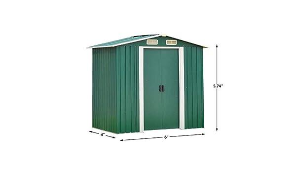 Garden Storage - Puerta corredera para jardín de 4 x 6 pies ...