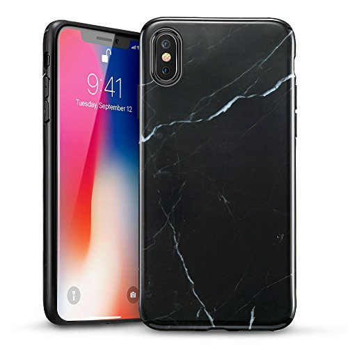 ESR Marble Slim Soft Case for iPhone X, Flexible TPU Marble Pattern Cover for Apple iPhone 5.8 inch (2017 Release only) (Black Sierra)