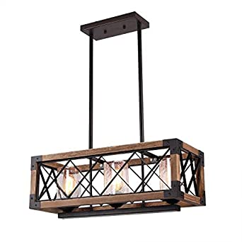 Giluta Kitchen Island Pendant Light Rectangle Wood Metal Chandelier Black Finish Rustic Industrial Chandelier Vintage Ceiling Light Fixture 3 Lights with Seeded Glass Shade 17809